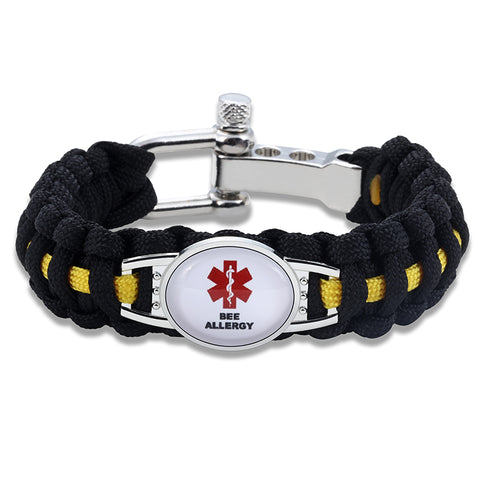 Bee Allergy Medical Alert Adjustable Paracord Bracelet (FREE! Just Pay Shipping & Handling)