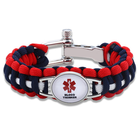 Blood Thinner Medical Alert Adjustable Paracord Bracelet (FREE! Just Pay Shipping & Handling)