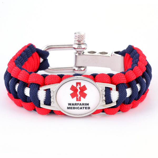 Warfarin Medicated Medical Alert Adjustable Paracord Bracelet (FREE! Just Pay Shipping & Handling)