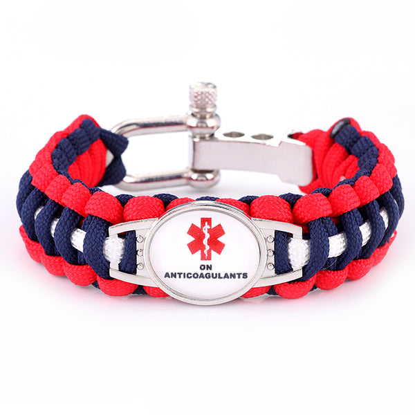 On Anticoagulants Medical Alert Adjustable Paracord Bracelet (FREE! Just Pay Shipping & Handling)