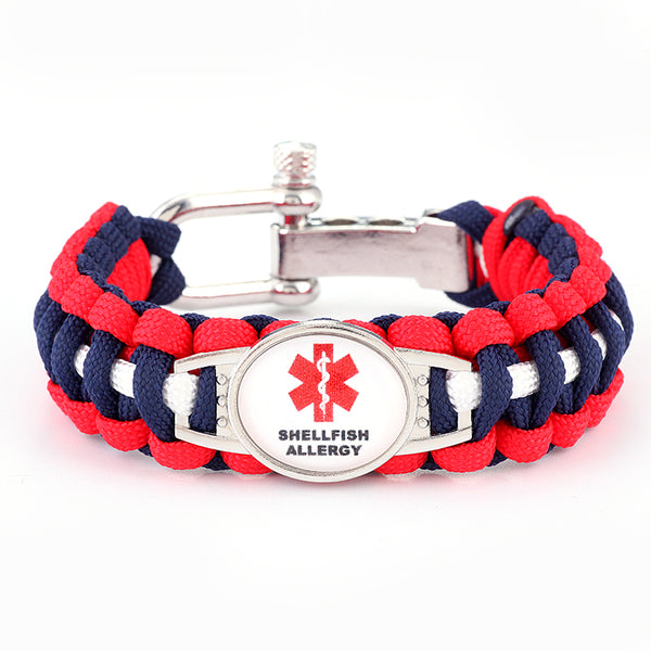 Shellfish Allergy Medical Alert Adjustable Paracord Bracelet (FREE! Just Pay Shipping & Handling)