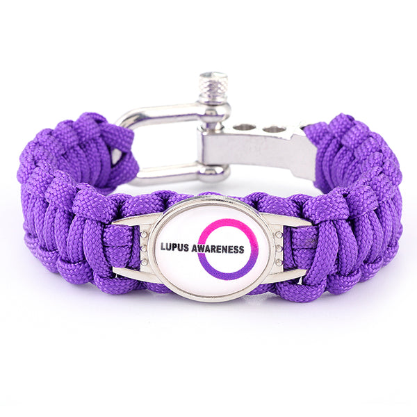 Lupus Awareness Medical Alert Adjustable Paracord Bracelet (FREE! Just Pay Shipping & Handling)