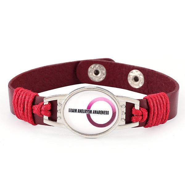 Brain Aneurysm Medical Alert Adjustable Patent Leather Bracelet (FREE! Just Pay Shipping & Handling)