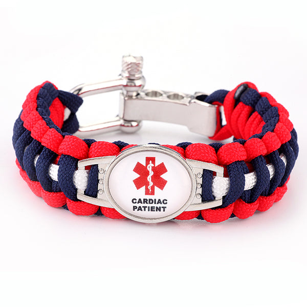 Cardiac Patient Medical Alert Adjustable Paracord Bracelet (FREE! Just Pay Shipping & Handling)