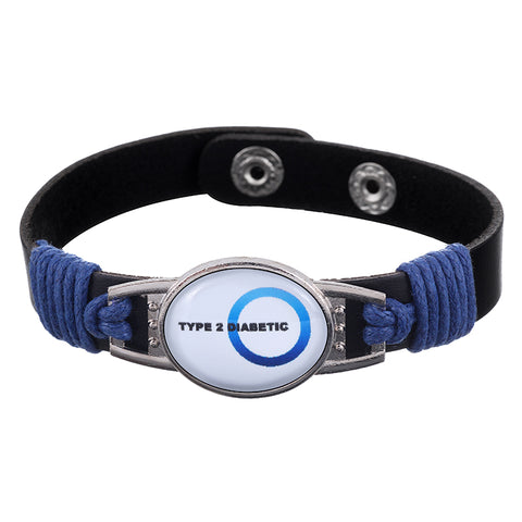 Type 2 Diabetic Blue Medical Alert Adjustable Patent Leather Bracelet (FREE! Just Pay Shipping & Handling)