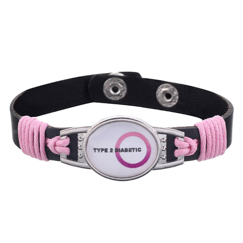 Type 2 Diabetic Pink Medical Alert Adjustable Patent Leather Bracelet (FREE! Just Pay Shipping & Handling)