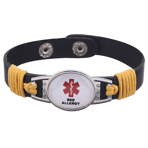 Bee Allergy Medical Alert Adjustable Patent Leather Bracelet (FREE! Just Pay Shipping & Handling)