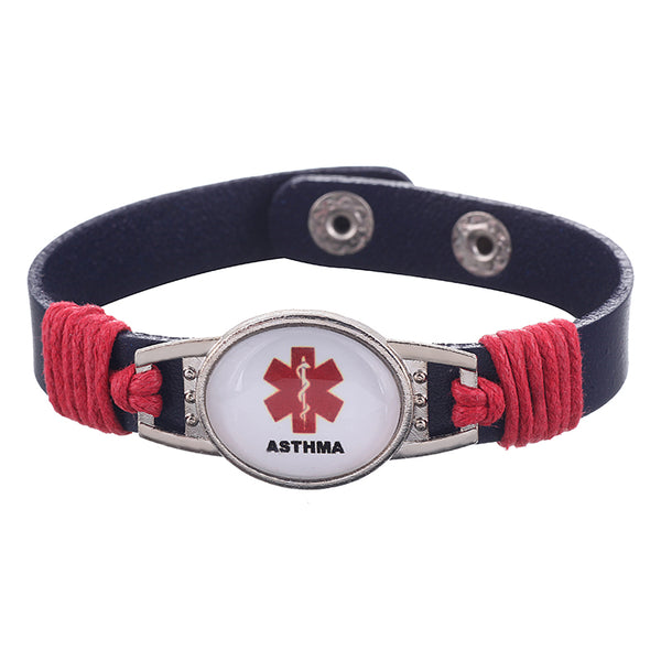 Asthma Medical Alert Adjustable Patent Leather Bracelet (FREE! Just Pay Shipping & Handling)