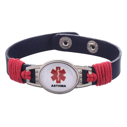 Asthma Medical Alert Adjustable Patent Leather Bracelet (FREE! Just Pay Shipping & Handling) - Shop B4F