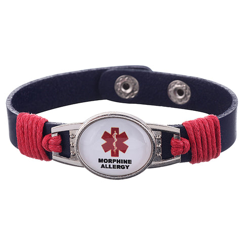 Morphine Allergy Medical Alert Adjustable Patent Leather Bracelet (FREE! Just Pay Shipping & Handling) - Shop B4F