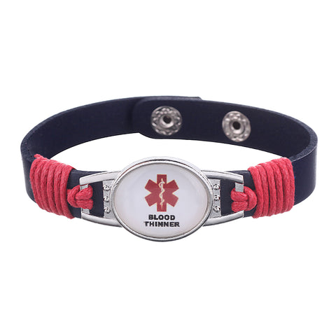 Blood Thinner Medical Alert Adjustable Patent Leather Bracelet (FREE! Just Pay Shipping & Handling) - Shop B4F