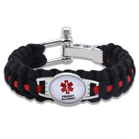 Peanut Allergy Medical Alert Adjustable Paracord Bracelet (FREE! Just Pay Shipping & Handling)