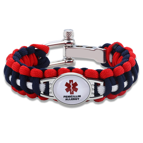 Penicillin Allergy Medical Alert Adjustable Paracord Bracelet (FREE! Just Pay Shipping & Handling)