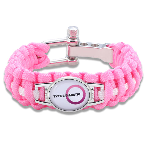 Type 2 Diabetic Medical Alert Adjustable Paracord Bracelet- Pink (FREE! Just Pay Shipping & Handling)