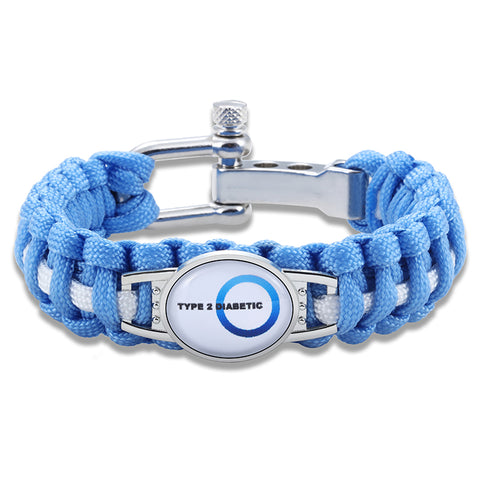 Type 2 Diabetic Medical Alert Adjustable Paracord Bracelet- Blue (FREE! Just Pay Shipping & Handling)