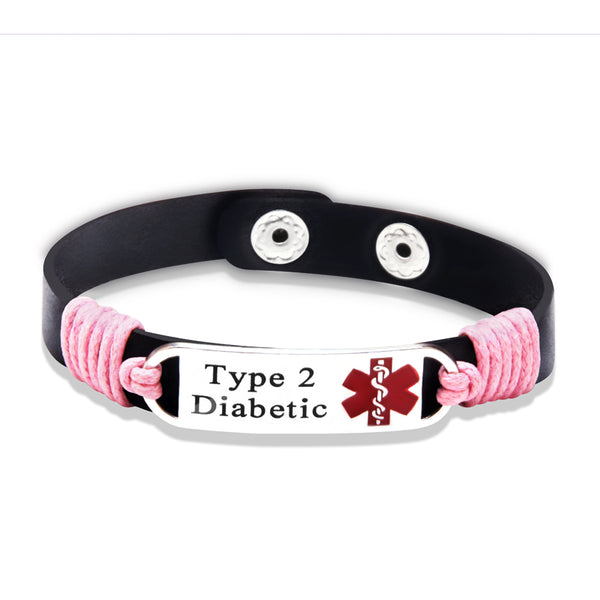 Type 2 Diabetic Medical ID Blk/ Pink Leather Bracelet (FREE! Just Pay Shipping & Handling) - Shop B4F