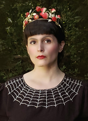 """Charlotte"" 1940s Style Hand Beaded Spiderweb Dress"