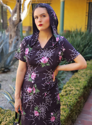 """Evelyn"" <br>Hooded Dress in ""Webs and Roses"""