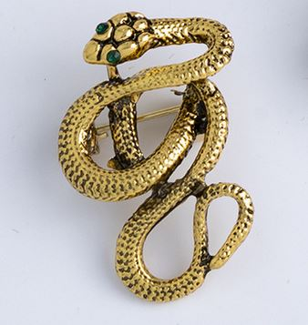"""Accalia"" <br>Gold Snake Brooch"