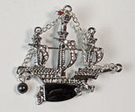 """Arcadia"" <BR>Rhinestone and Enamel Ship Brooch"
