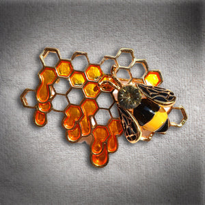 """Honey"" Bee and Honeycomb Brooch"