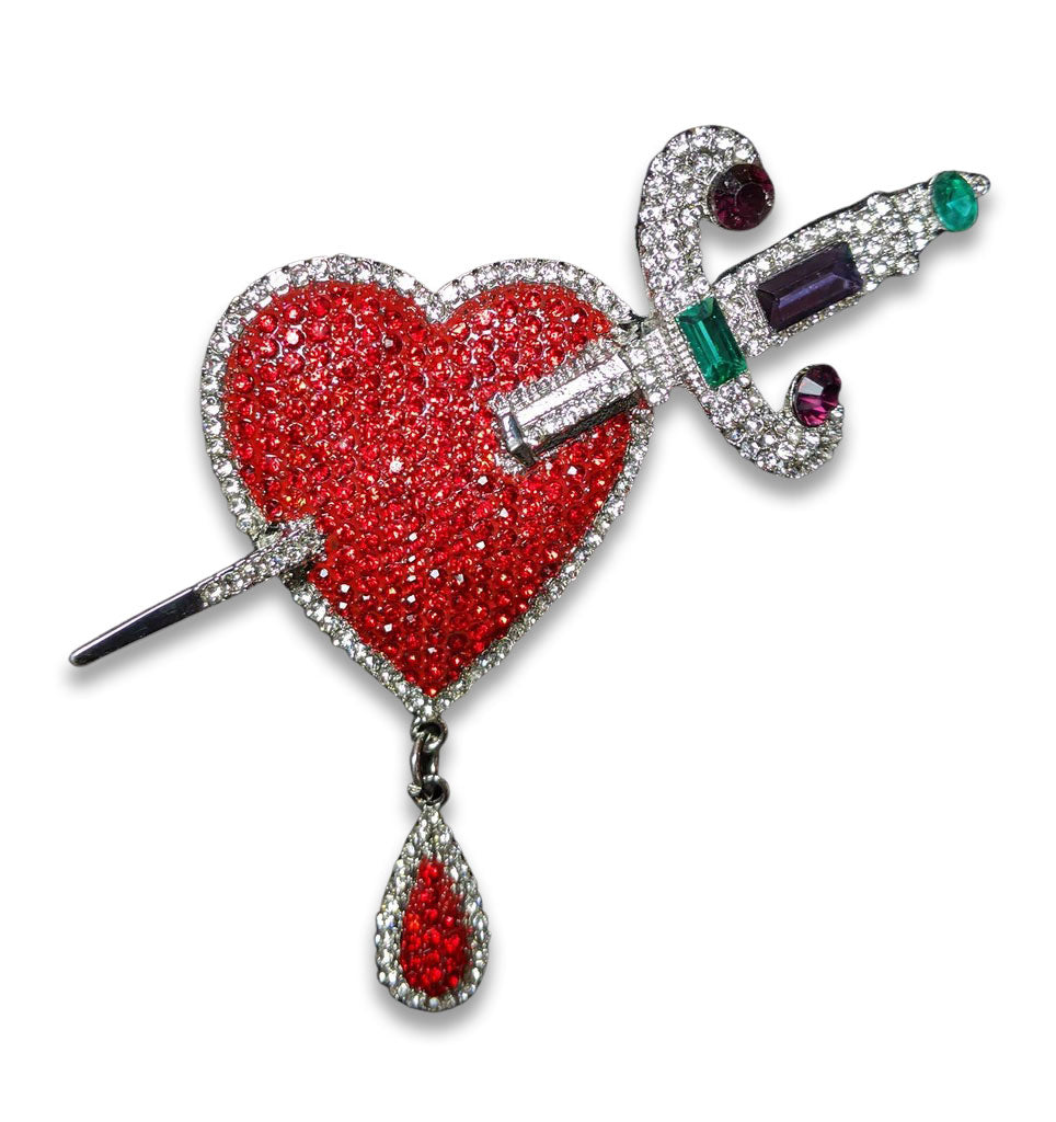 """Jezebel"" Heart and Dagger Statement Brooch"