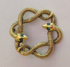 """Sandrine"" Intertwined Snakes Brooch"