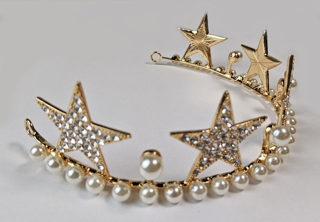"""Alexandrine"" Star and Pearl Tiara Crown"
