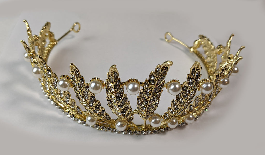 """Sestina"" <BR>Pearl and Feather Tiara Crown"