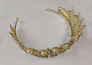 """Sestina"" Pearl and Feather Tiara Crown"