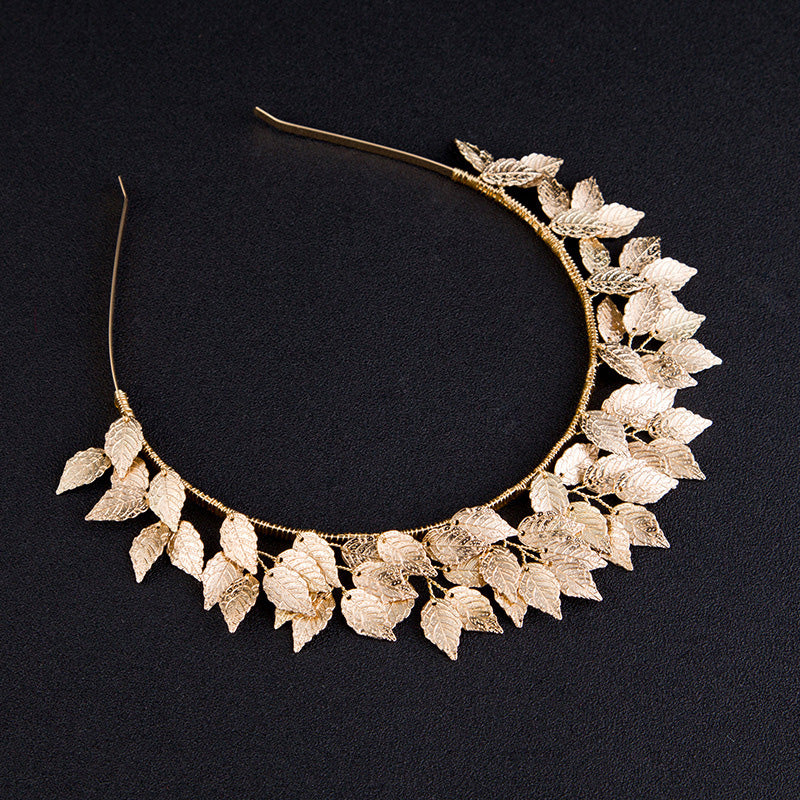 """Zephyr"" Golden Leaf Head Band Crown"