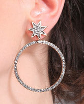 """Addie"" <BR>Rhinestone Starburst and Hoop Earrings"