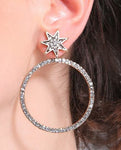 """Addie"" Rhinestone Starburst and Hoop Earrings"