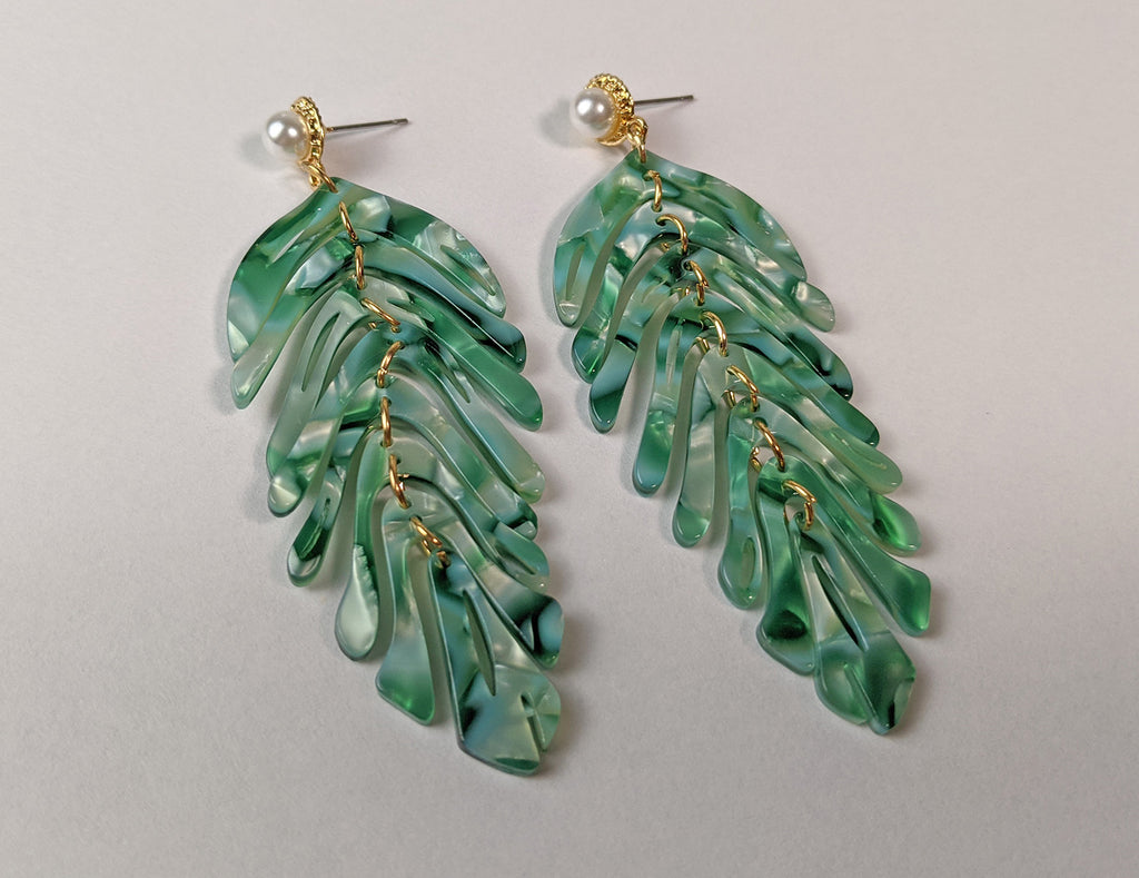 """Alta"" Acylic Leaf Dangle Earrings"