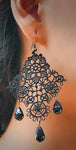 """Amory"" <br>Black Lace and Beaded Earrings"