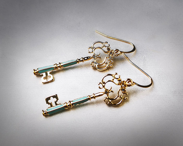 """Corinna"" Gold-tone Key Earrings"
