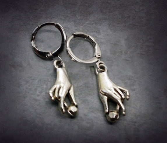 """Ginevra"" Silver-tone Victorian Style Hand Earrings"