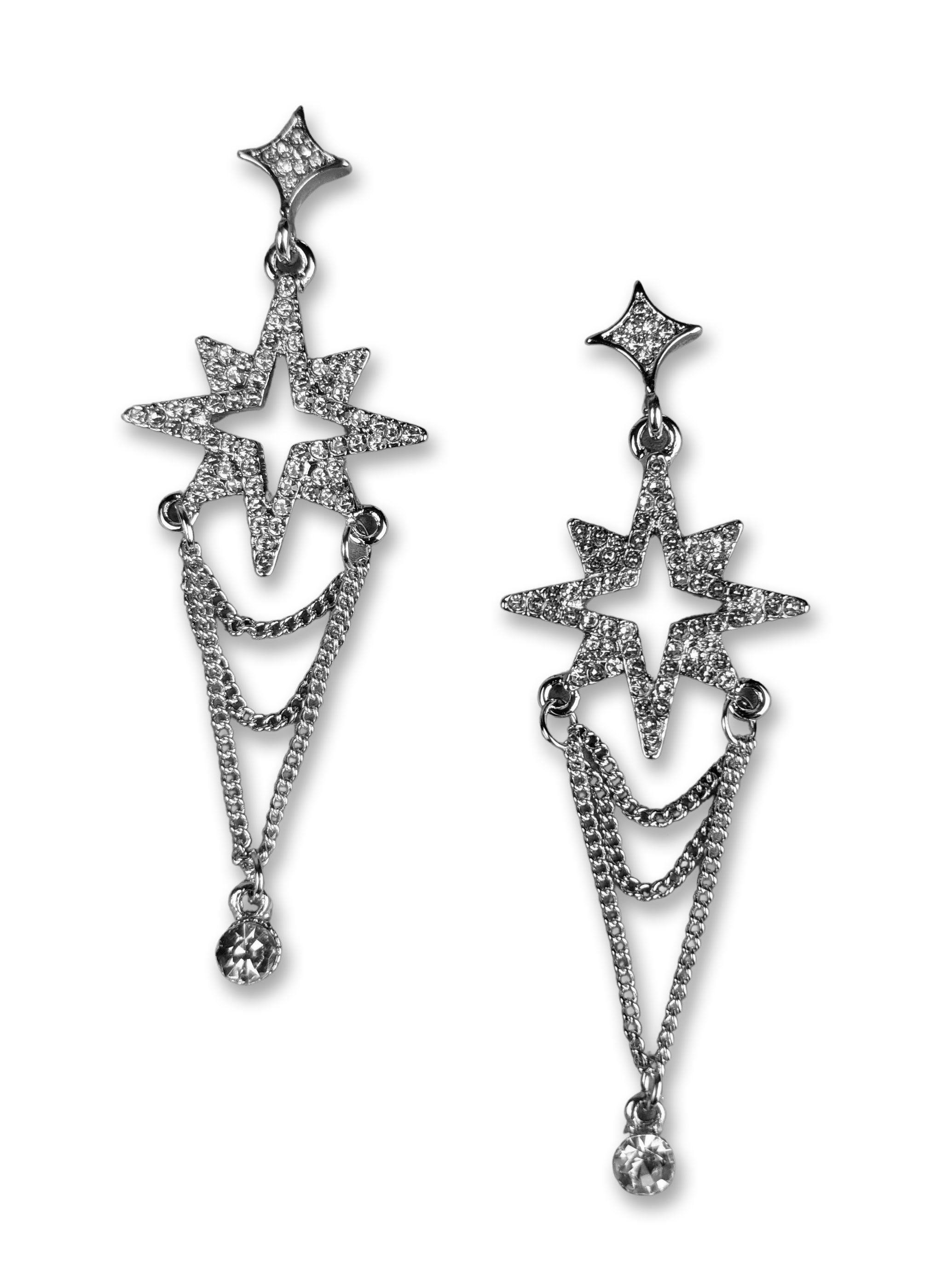 """Katy"" Silver-tone Starburst Earrings"