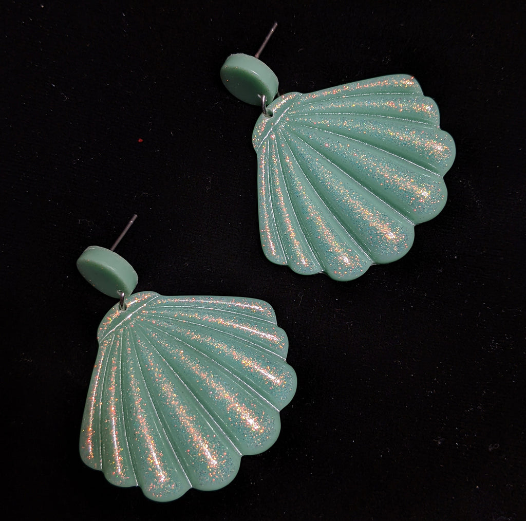 """Lucianna"" Mint Sparkle Acrylic Shell Earrings"