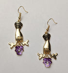 """Mirth"" Victorian Style Hand and Flower Earrings"