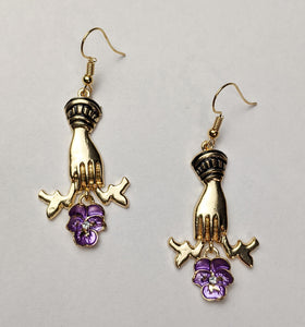 """Mirth"" <br>Victorian Style Hand and Flower Earrings"