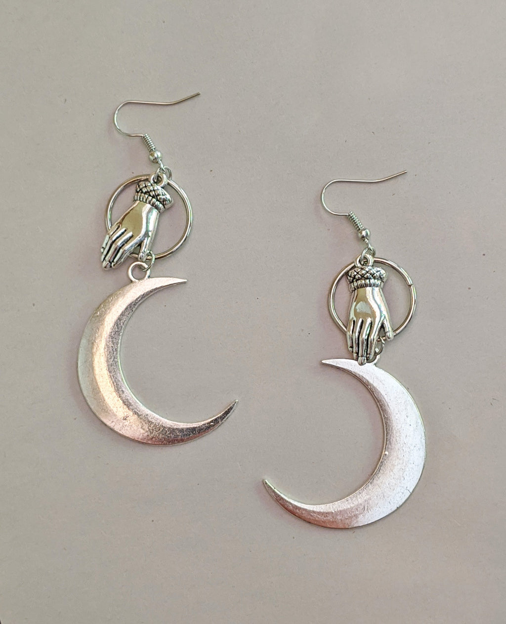 """Socorro"" Moon and Hand Earrings"