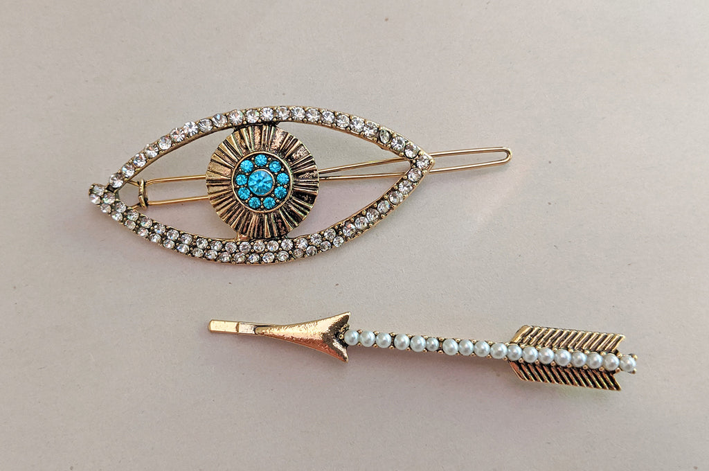 """Mae"" Eye Barrette and Arrow Hairpin Set"