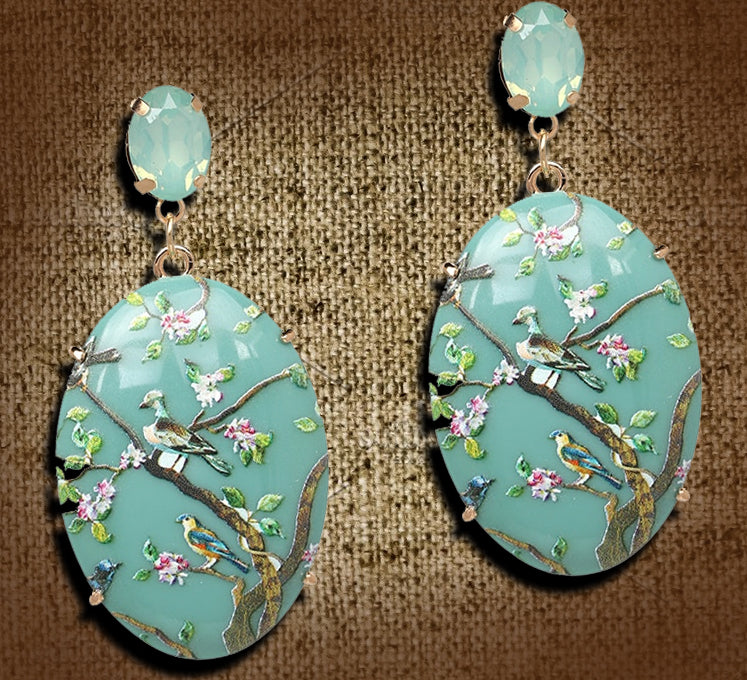 """Halcyon"" <BR>Seaform Color Bird and Floral Earrings"
