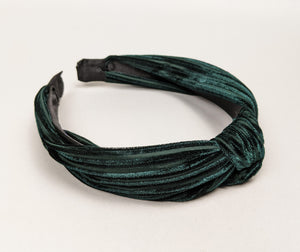 """Etta"" Forest Green Top Knot Velvet Headband"