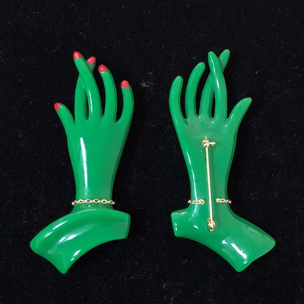 """Catherine"" Green 1940s Style Hand Pin"