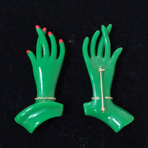 """Catherine"" <br>Green 1940s Style Hand Pin"