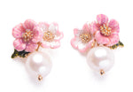 """Madelyn"" <BR>Enamel Pearl and Floral Earrings"
