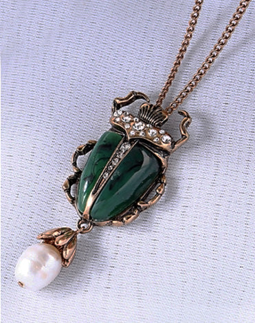 """Elizabeth"" <br>Scarab and Pearls - Double Necklace"