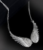 """Freya"" <BR>Silver Toned Wing Necklace"